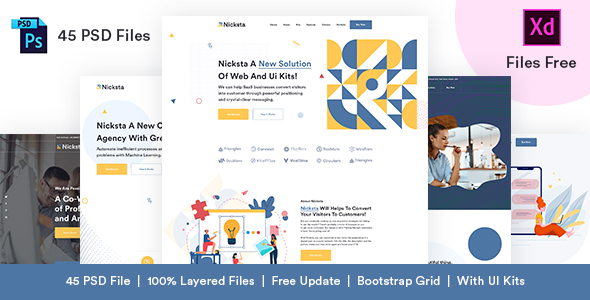 Nicksta - Multipurpose PSD Template With PSD UI Kits