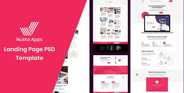 Nuska-Apps landing page PSD template