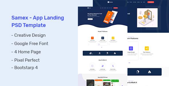 Samex - App Landing PSD Template