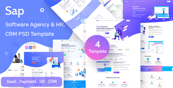 Sap - Software Agency & HR  Solution PSD Template