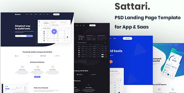 Sattari.-PSD Landing Page Template for App & Saas