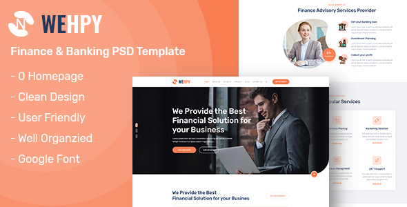 Wehpy - One Page Finance and Banking PSD Template