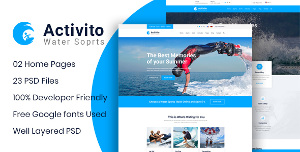 Activito - Water Sports Business PSD Template