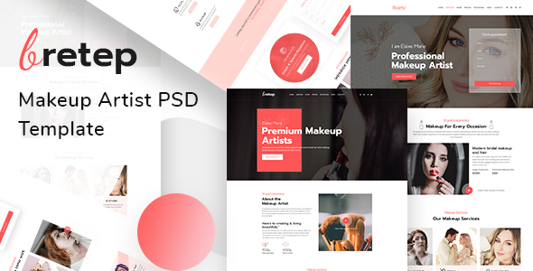 Bretep - Makeup Artist PSD Template