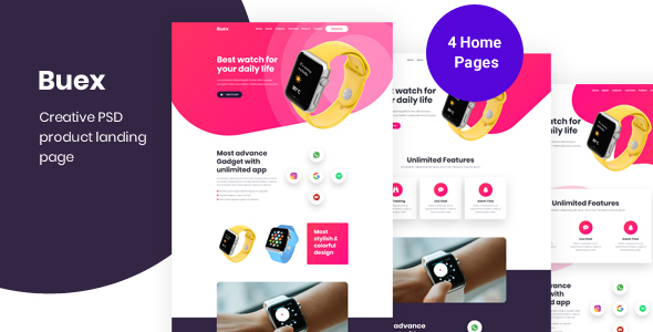 Buex- Product Landing Page PSD template