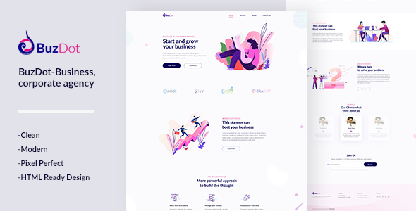 BuzDot-Business and corporate agency PSD template