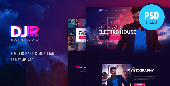 DJ Rainflow | Music Band & Musician PSD Template