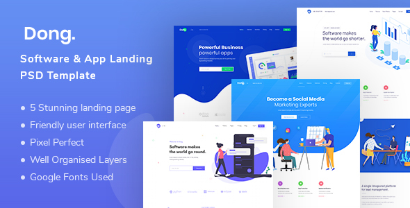Dong - Software and App Landing PSD Template