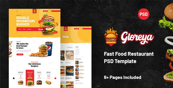 Gloreya - Fast Food Restaurant PSD Template