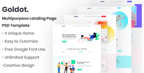 Goldot.- Multipurpose Landing Page PSD Template
