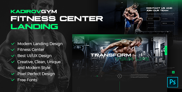 KadirovGYM - Fitness Center Landing PSD Design