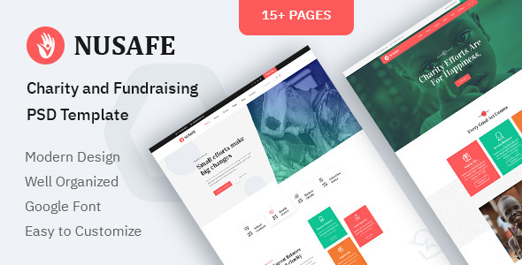 Nusafe | Charity & Non-Profit PSD Template