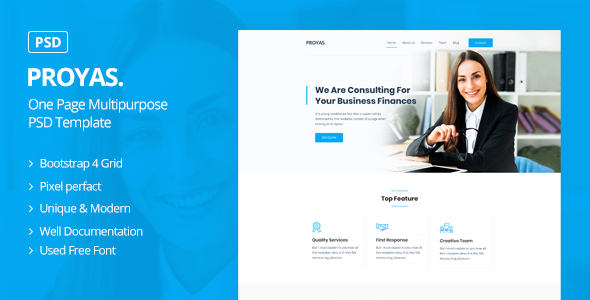 Proyas - One Page Multipurpose PSD Template