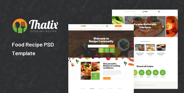 Thatix - Food Recipe PSD Template
