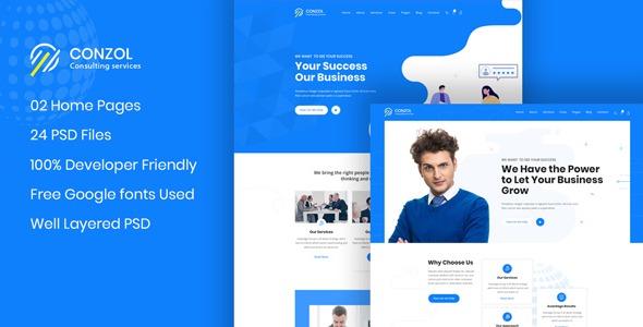 Conzol - Business Consultancy PSD Template