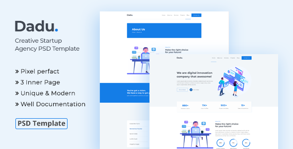 Dadu - Creative Startup Agency PSD Template