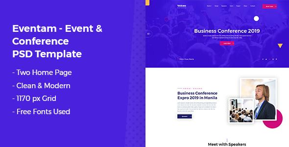 Eventam - Conference & Event PSD Template