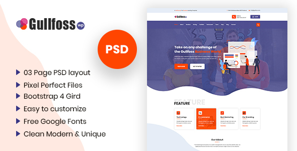 Gullfoss - Multipurpose Business PSD Template