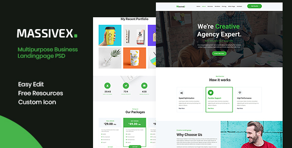 Massivex - Multipurpose Business Landing Page PSD