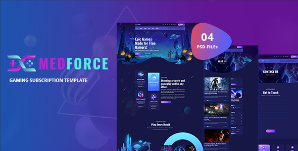 Medforce - Gaming Subscription Website PSD Template