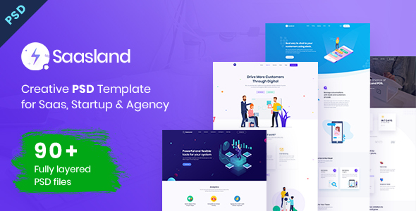 Saasland | MultiPurpose PSD Template for Startup & Agency