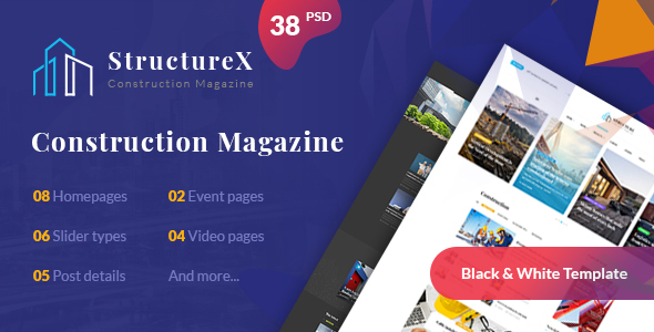 StructureX - Minimal Construction Magazine PSD Template