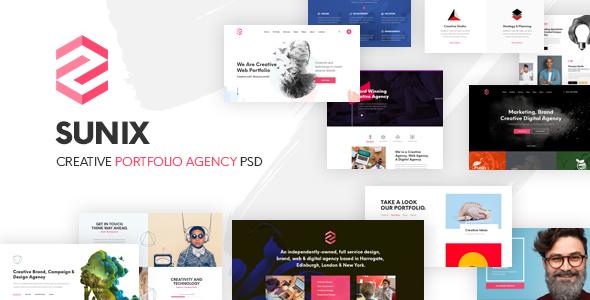 Sunix - Creative Startup Digital Agency, Portfoilio PSD Template