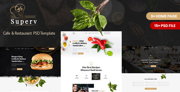 Superv Cafe - Restaurant PSD Template