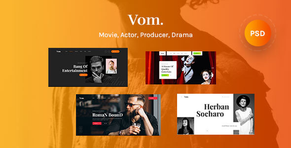Vom - Multipurpose Film Maker , Video , Movie & Actor PSD Template