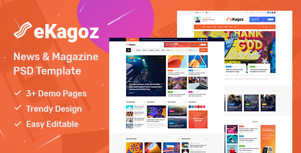 eKagoz - Blog, News & Magazine PSD Template