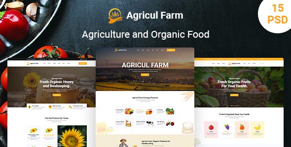 AgriculFarm - Agriculture & Organic Food PSD Template