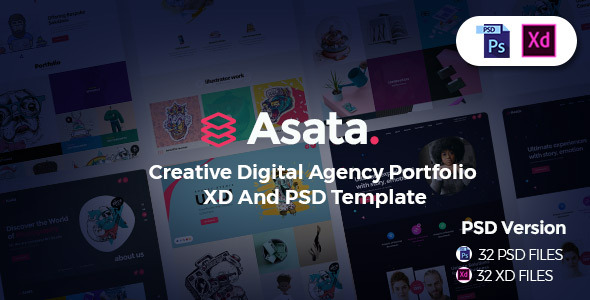 Asata - Creative Digital Agency Portfolio XD & PSD Template