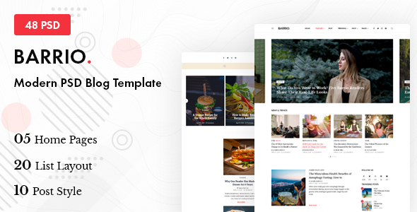 Barrio - Modern PSD Blog Template