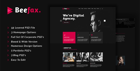 Beefax - Digital Services Agency PSD Template