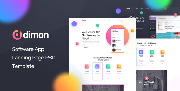 Dimon - Software App Landing Page PSD Template