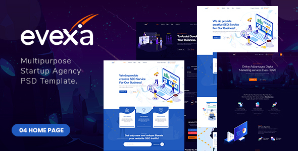 Evexa - Multipurpose Startup Agency PSD Template.