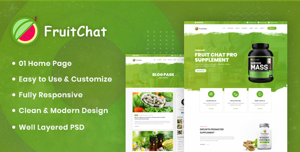 Fruitchat - Supplement Landing PSD Template