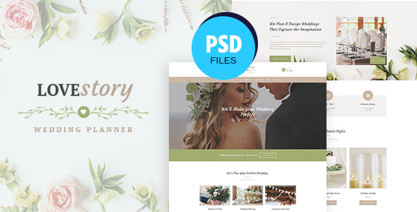 Love Story | Wedding and Event Planner PSD Template