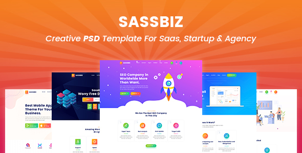 SassBiz - Creative PSD Template for Saas
