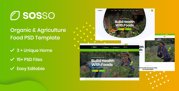 Sosso - Agriculture & Organic Food PSD Template