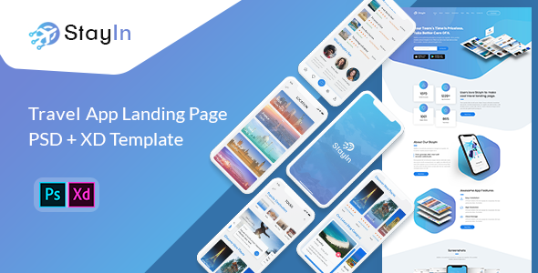 Stayin - App Landing Page PSD + XD Template