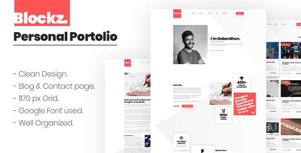Blockz. Personal Clean Portfolio PSD Template