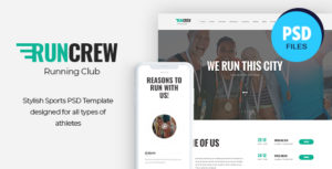 RunCrew | Running Club, Marathon & Sports PSD Template