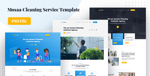 Mosaa - Creative Cleaning Service PSD Template