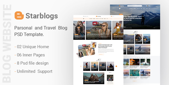 Starblogs - Personal and Travel Blog Psd Template