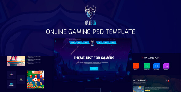 Gamgun  - Online Gaming PSD Template