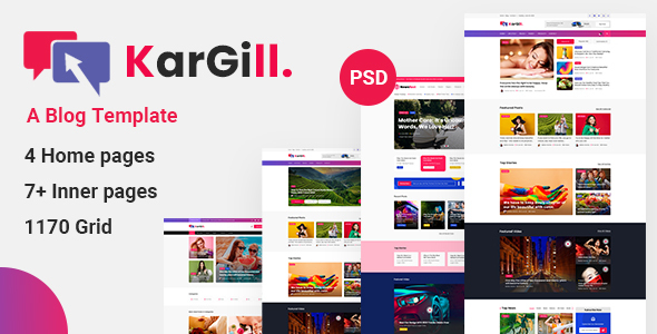 Kargill - Blog, Magazine PSD Template