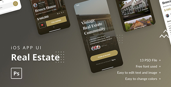 Real Estate — iOS App UI Template PSD