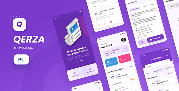Qerza - Job Portal iOS App Design PSD Template