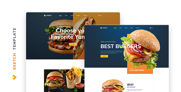 Burgos – Street Food Template for Sketch